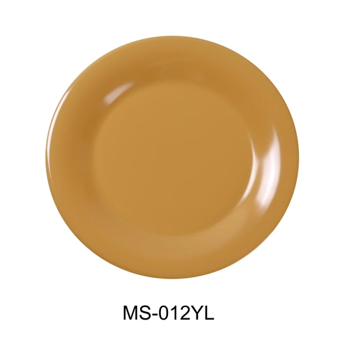 "Yanco MS-012YL Mile Stone Wide Rim Round Plate, 12"" Diameter, Melamine, Yellow Pack of 12"