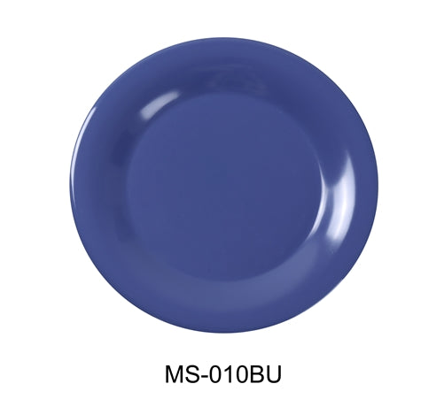 "Yanco MS-109BU Mile Stone Narrow Rim Round Plate, 9"" Diameter, Melamine, BLUE  Pack of 24"