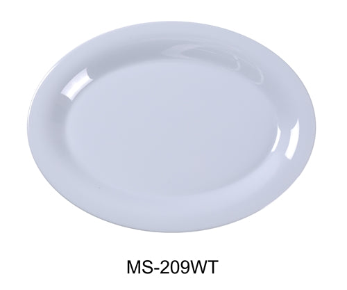 "Yanco MS-209WT Mile Stone Oval Platter, 9.5"" Length, 7.25"" Width, Melamine, White Pack of 24"