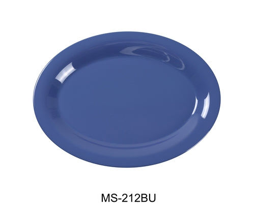 "Yanco MS-212BU Mile Stone Oval Platter, 12"" Length, 9"" Width, Melamine, Blue  Pack of 12"