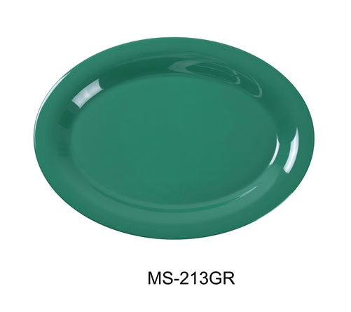 "Yanco MS-213BU Mile Stone Oval Platter, 13.5"" Length, 10.5"" Width, Melamine, Blue, Pack of 12"