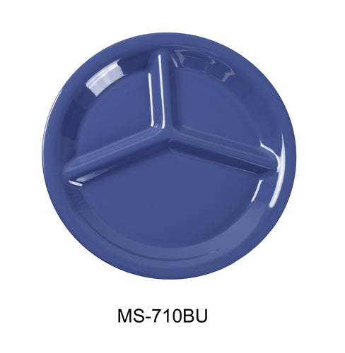 "Yanco MS-710BU Mile Stone Three Compartment Plate, 10.25"" Diameter, Melamine, Blue, Pack of 24"