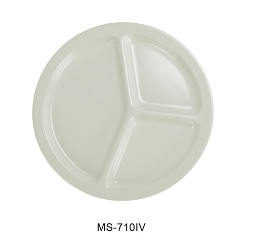 "Yanco MS-710IV Mile Stone Three Compartment Plate, 10.25"" Diameter, Melamine, Ivory , Pack of 24"