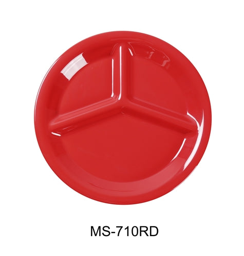 "Yanco MS-710RD Mile Stone Three Compartment Plate, 10.25"" Diameter, Melamine, Orange Red, Pack of 24"