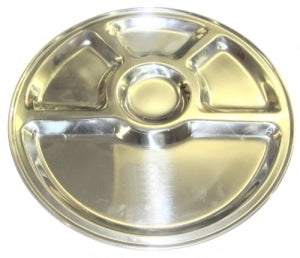 Stainless Steel Round Thali Mess Tray - 13""