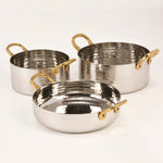 Hammered Stainless Steel Fry Pan with Brass Wire Handles - 18 Oz.