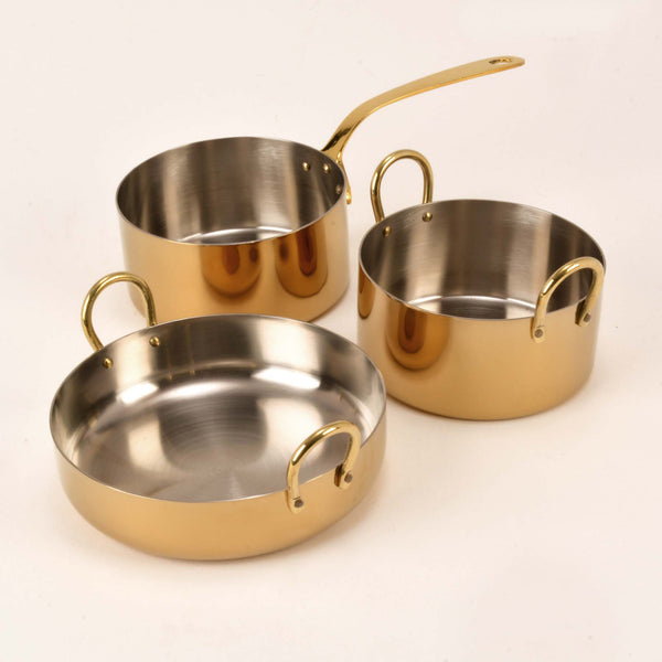 Stainless Steel PVD Sauce Pan with Brass Wire Handles in Gold Finish - 20 Oz