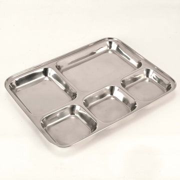 Stainless Steel  Square Thali 5 Portion Mess Tray