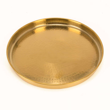 Handmade Round Gold Finish Hammered Stainless Steel Thali Platter  - 13""