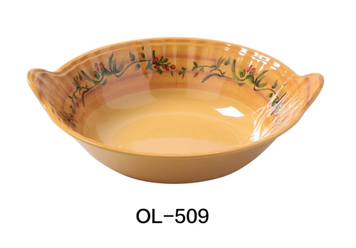 "Yanco OL-509 Olive 8"" BOWL WITH HANDLE 1 QT, 9"" Length and 3"" Height with Handle, Melamine, Pack of 12"