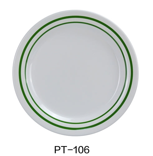 "Yanco PT-106 Pine Tree Round Bread Plate, 6.25"" Dia. Melamine, Pack of 48"
