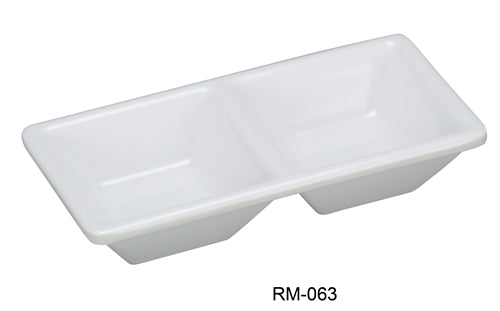 "Yanco RM-063 Rome 2-Compartment Dessert Dish, 5.125"" Length, 2.5"" Width, Melamine, White Color, Pack of 48"