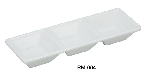 "Yanco RM-064 Rome 3-Compartment Dessert Dish, 7.5"" Length, 2.5"" Width, Melamine, White Color, Pack of 48"