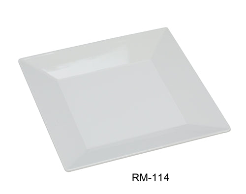 "Yanco RM-114 Rome Square Plate, 14"" Length, 14"" Width, Melamine, White Color, Pack of 12"