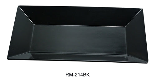 "Yanco RM-214BK Rome Rectangular Plate, 14"" Length, 5"" Width,  Melamine, Black Color, Pack of 12"