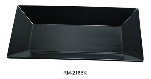 "Yanco RM-216BK Rome Rectangular Plate, 16"" Length, 9.5"" Width, Melamine, Black Color, Pack of 12"