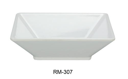 "Yanco RM-307 Rome Square Deep Plate, 22 oz Capacity, 7"" Length, 7"" Width, 2"" Height, Melamine, White Color, Pack of 24"