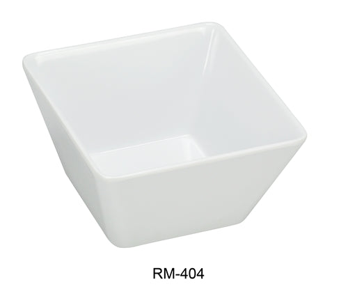"Yanco RM-404 Rome Square Bowl, 10 oz Capacity, 3.75"" Length, 3.75"" Width, 2.5"" Height, Melamine, White Color, Pack of 72"