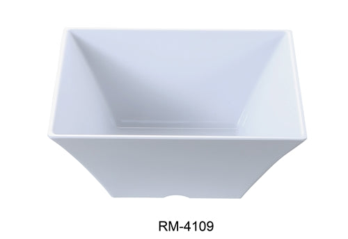 "Yanco RM-4109 Rome 10"" Square Bowl, 98 oz Capacity, 4"" Hight"", Melamine, White Color, Pack of 12"