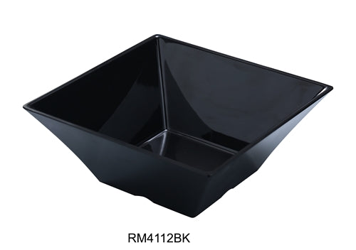 "Yanco RM-4112BK Rome Square Bowl, 8 qt Capacity, 12"" Width, 12"" Length, 5.5"" Height, Melamine, Black Color, Pack of 6"