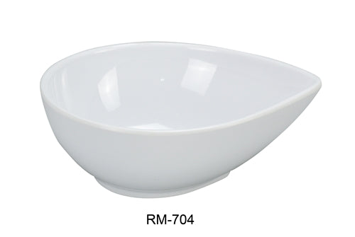 "Yanco RM-704 Rome Water Drop Shape Dish, 4 oz Capacity, 4"" Length, 3.5"" Width, 1.5"" Height, Melamine, White Color, Pack of 72"