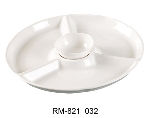 "Yanco RM-821 Rome 4-Compartment Plate, Round, 12.25"" Diameter, 1"" Height, Melamine, White Color, Pack of 12"