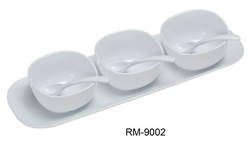 "Yanco RM-9002 Rome Condiment Bowl Set, 16"" Saucer with Three 4"" Bowls & 3 Spoons, Melamine, White Color, Pack of 12"