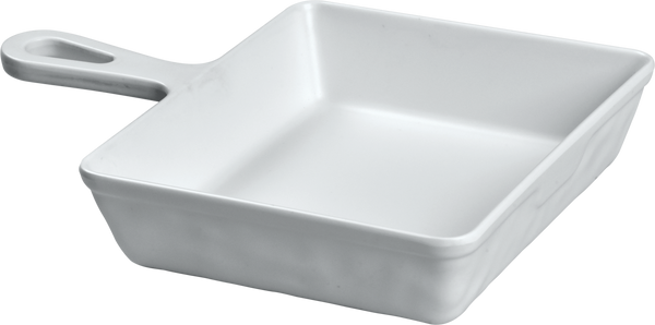 Melamine Sq Servo Dish W/handle 5 inch x 4 inch, 8.4 Oz. white
