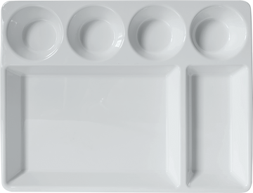 Melamine 6 compartment Rectangle Platter, White, Pack of 6