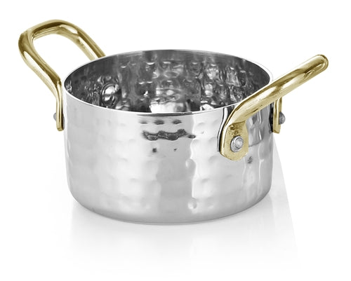 Hammered Stainless Steel Mini Sauce Pan- 7 Oz.