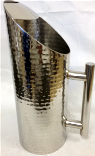 Stainless Steel Hammered Tower Water Pitcher-BH