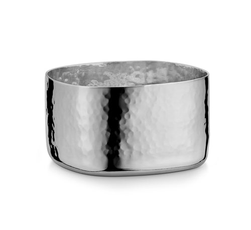 Hammered Stainless Steel Square Bowl # 1- 4 Oz.