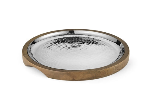 Hammered Stainless Steel Round Platter with wooden Underliner- 9.6 inches