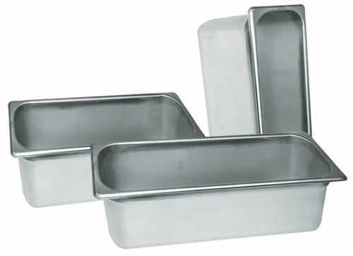 WINCO Stainless Steel 25 Gauge Anti-Jamming 1/4 Size Steam Pan - 4 inch Deep