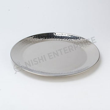 Hammered Stainless Steel Dinner Plate 10-1/4 inches