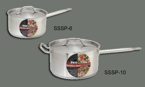 Winco SSSP-6 Stainless Steel Sauce Pan 6 Qt with Cover
