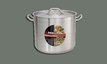 Winco SST-32 Stainless Steel Stock Pot 32 Qt with Cover