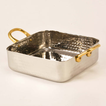 Hammered Stainless Steel Square Serving Bowl with 2 Brass Handles - 18 Oz.