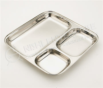 Stainless Steel Square Thali Plate 9 inch
