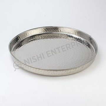 Stainless Steel Hammered Round Thali plate 13 inch