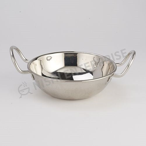 Hammered Stainless Steel kadai with wired handle - 12 Oz.