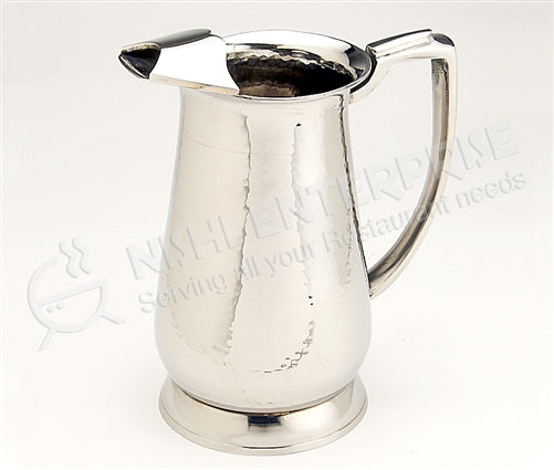 Water Pitcher - Maharaja - Serveware - Indian Style - with Ice Guard - Hand Hammerred Stainless Steel - 48oz.