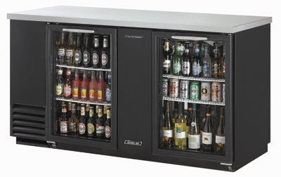 Turbo Air TBB-3SG-N Back Bar Cooler With 2-Glass Doors, Black/Stainless