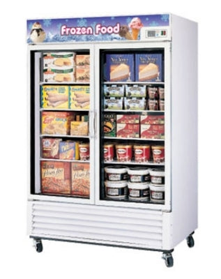 Turbo Air TGF-49F Two-Section Freezer Merchandiser With Glass Doors, 49-cu ft