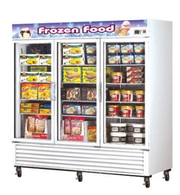 Turbo Air TGF-72F Three-Section Freezer Merchandiser With Glass Doors, 72-cu ft