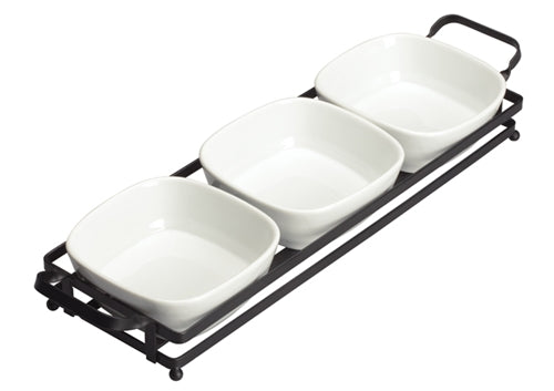 Winco WDP014-102 Trio set square bowls with stand