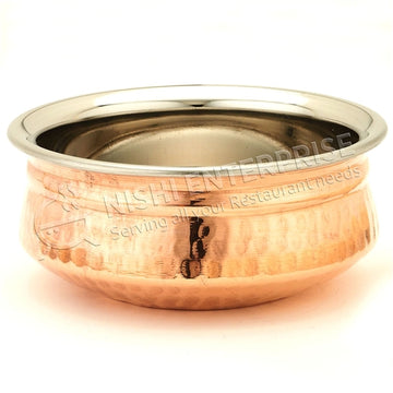 Servingware Indian Style Copper/Stainless Steel Handi Bowl # 2 - 20 Oz.
