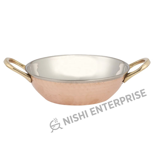 Copper/Stainless Steel Kadai Bowl with Brass Handles - 16 Oz.