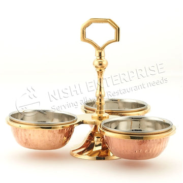 Copper/Stainless Steel Pickle Stand - 3 Bowls