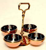 Copper/Stainless Steel Pickle Stand - 4 Bowls